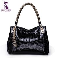 Wolsey 2013 women's fashion cowhide handbag crocodile pattern japanned leather one shoulder handbag