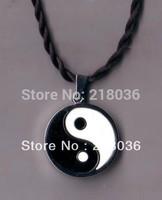 Supernova Sale  Free Shipping  20Pcs Vintage Silver  Black White Enamel  Yin Yang Charm Silk Cord Pendants Necklace  N457