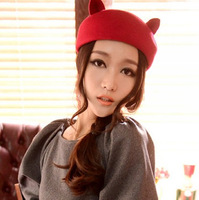 2012 autumn and winter cat ears small little demon wool hat cap woolen beret