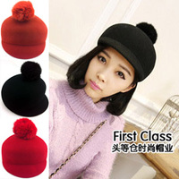 Rabbit fur ball fashion felt hat wool equestrian cap vintage hat women's autumn and winter