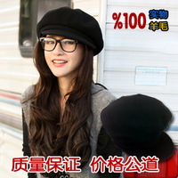 Vintage octagonal hat summer casual male women's pure wool