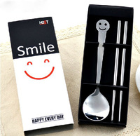 Festival Gift Box Set,Smiley Dinnerware/1pc Spoon+1pc Chopsticks Stainless Steel Tableware Gift Set/Free Shipping/Wholesales