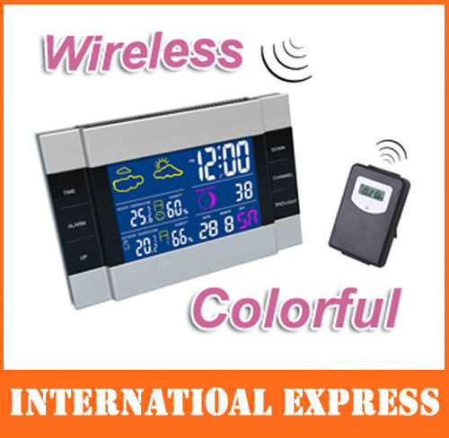 Free shipping dropshipping CH113 RF Wireless Weather Station Alarm Clock Indoor/Outdoor Thermometer with Color Backlight(China (Mainland))