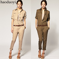 2014 new arrival spring and summer cotton 100% tooling handsome jumpsuit pants slim trousers jumpsuit XS-XXL