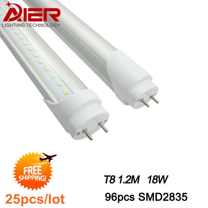 Promotion! t8 led tube 1200mm 18w 4ft, smd 2835 110v 220v, FEDEX Free Shipping, 25pcs/lot(China (Mainland))