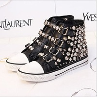 [Free shipping] 2013 New arrival fashion female rivet high-top casual shoes flats big size women's shoes