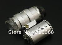 freeshipping 40pcs/lot 45X 2 LED Mini Pocket Microscope Magnifier Jeweler Loupe