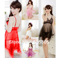 Free Shipping!!! Hotsale Fashion Sexy Lingerie Colorful Transparent Sleepwear Sexy Nightdress Costume Lace Bra Skirt+G string