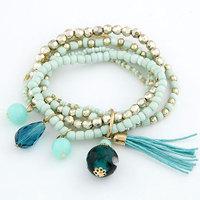 2014 Bohemia Muti-layer Mixed Acylic Rice Beads Charm Bracelets Wax Wire Tassel Jewelry With Elasticity For Women