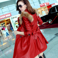 2013 Autumn Winter Women's Racoon Fur Collar Medium-long Motorcycle Leather Clothing Female Leather Jacket Coat Trench Outerwear