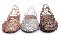2013 breathable crystal bling jelly shoes cutout flat heel bird nest mesh bird nest female flat sandals