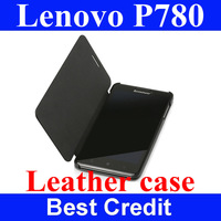 Freeshipping fashion design black 100%original lenovo p780 lether case lenovo p780 cover case flip case for lenovo p780 in stock