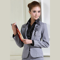 2013 Spring Autumn Female Slim Suit&Pants Office Work Wear Gray Career Sets High Quality Professional Pant Suits Uniform XXL