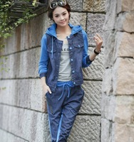 High quality women's new arrival autumn and winter coat denim casual sportswear set twinset