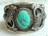 Superb Jewelry tibet silver turquoise bracelet Bangle shipping free