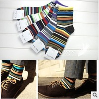 Free Shipping fashion color strip style breathable soft and comfortable casual/business men sock