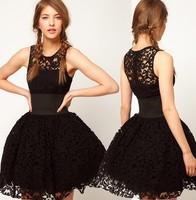 2013 New Fashion British royal wind wide belt decoration black lace puff  dress tank dress 6 full Free Shipping