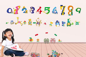 0 9 Numbers Animals Removable Wall Stickers Decals Decor Nursery Kids
