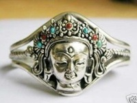 Superb Jewelry genuine Fancy Jewelry Tibet Silver Buddha head bracelet Bangle shipping free