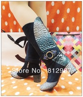 Free Shipping 2013 Fashion Women's Retro Peacock Cow Leather+Warm Flock High Western Boots/Riding Boots/Cowboy Boots