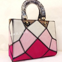 Fashion hot-selling 2013 rv rhombus geometry patchwork color block women's handbag chain scrub patchwork handbag bag