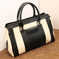 2013 fashion vintage bag fashion black and white color block bag portable women's handbag