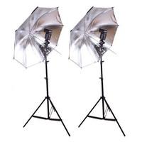 "33"" Flash Silver Black Reflector Umbrella with Shoe Holder Mount B Bracket & Studio Photo stand kit"