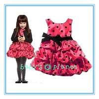 2015 new fashion baby girl dress princess dot red dress bow elegant cute dress classic brand formal garment Christmas 5pcs/lot