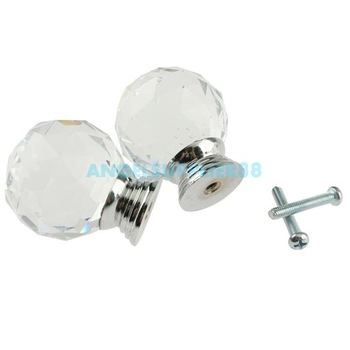 5Pcs 40mm Crystal Glass Cabinet Knob Drawer Pull Handle Kitchen Door Wardrobe A#