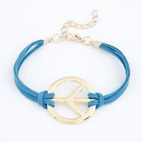 New Arrival Fashion Pop Unique Peace Anti-War Symbol Leather Bracelet