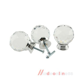 5Pcs 40mm Crystal Glass Cabinet Knob Drawer Pull Handle Kitchen Door Wardrobe M3