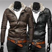 Fashion fur collar stereo pocket short slim leather coat foreign trade male washing locomotive leather fur collar can unload