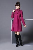 2013 New Fashion Winter Women Thickening Coat Woolen Outerwear Thermal Overcoat Free Shipping