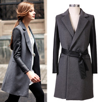 Fashion casual woolen outerwear patchwork leather sleeve length sheep trophonema wool coat female