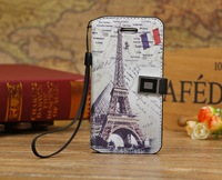 Free Shipping Luxury Retro Eiffel Tower Flip Wallet Card Holder Magnetic Belts Stand Leather Cases Cover For Apple Iphone 5C Bag