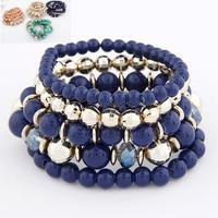 Bohemia Candy Color Plastic Beads Strand Summer Stretch Bracelet