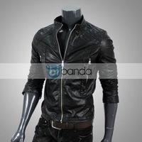 Free shipping 2013 foreign men locomotive leather washable leather jacket collar