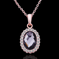 Fashion Jewelry New style 18K gold plated rose gold cz diamond oval pendant necklace