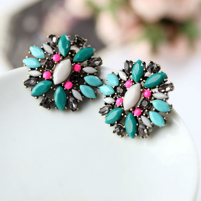 New Styles 2015 Fashion Jewelry Antique Vintage Green Plant Round Earrings Christmas Gifts(China (Mainland))