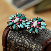 New Styles 2015 Fashion Jewelry Antique Vintage Green Plant Round Earrings Christmas Gifts