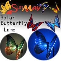7-Color-Changing Solar Power decoration LED butterfly Landscape Flower Solar panel path garden Garden lawn Lamp Lights 6pcs/lot