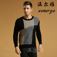 2013 men's clothing mink cashmere sweater male sweater o-neck sweater twisting sweater