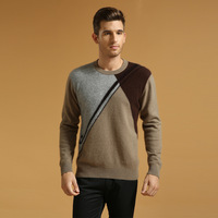 Casual male mink sweater o-neck sweater male slim sweater basic shirt