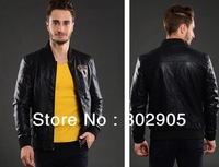 2013 Autumn Men Pu leather Jacket casual Europe Designer M L XL XXL