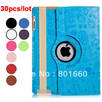 30pcs/lot 360 Degree Rotating Protective PU Leather Case & Stand for iPad 2/3/4 In Stock