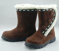Silk decoration velcro berber fleece child thermal winter snow boots