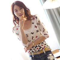 2013 autumn sweet all-match multi-colored butterfly print slim sweater cardigan short jacket