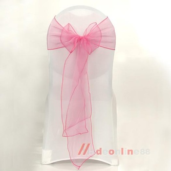 25x Romantic Chair Back Organza Sashes Decoration for Wedding Banquet Pink M3AO