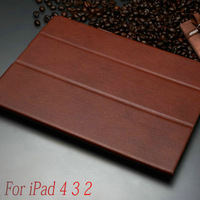 Luxury Retro PU Leather Case for iPad 3 4 2 flip smart cover with stand Free shipping brown red black