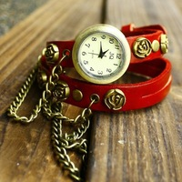 2013 New women Fashion tangerine retro leather watches 2 laps rose watches